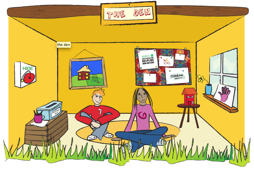 An illustration showing the inside of a child's den