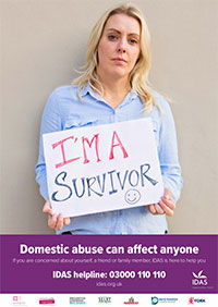 I'm A Survivor poster - woman holding up sign saying I'm A Survivor