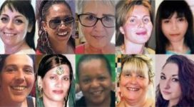 The faces of women murdered by men during 2020.